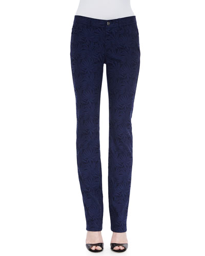 Curvy Slim-Leg Palm Jacquard Jeans