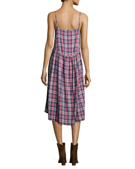 The Tea Time Sleeveless Dress, Washed Cherry Plaid