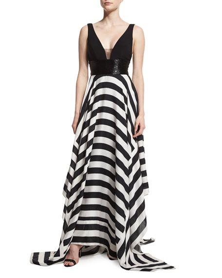Jovani Sleeveless Combo Striped Ball Gown