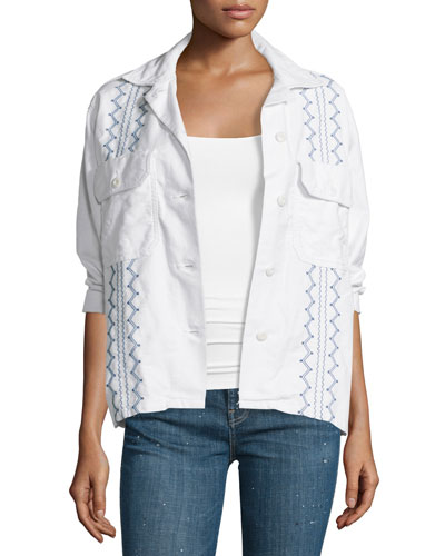 The Embroidered Army Shirt Jacket, White Best Reviews