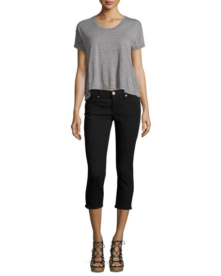 Casey Low-Rise Capri Jeans, Black