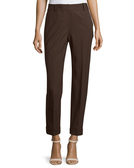 Lafayette 148 New York Folded-Cuff Slim-Leg Cropped Pants,