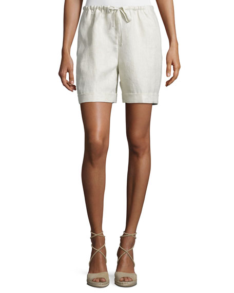 Lafayette 148 New York Drawstring-Waist Cuffed Shorts,