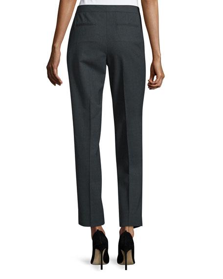 Slim-Leg Cropped Pants, Smoke