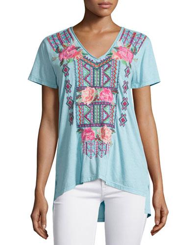 Cassandra Short-Sleeve Embroidered Tee, Plus Size