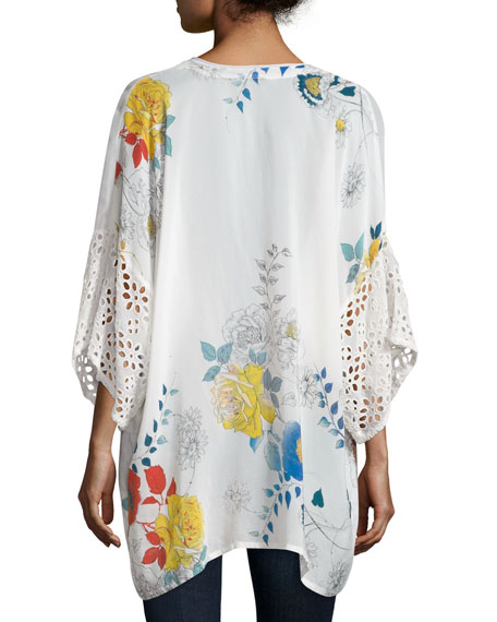 Tie-Front Eyelet-Sleeve Kimono Jacket, Multi