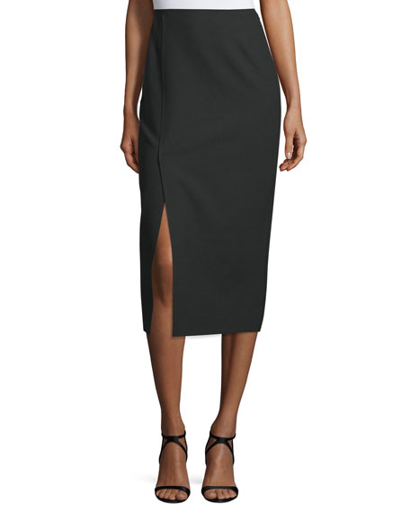 Elizabeth and James Theo Crepe Pencil Skirt, Black