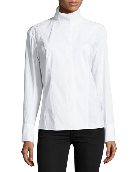 Donna Karan Long-Sleeve Origami-Collar Shirt, White
