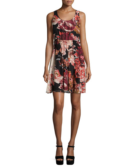 Elizabeth & James Sleeveless Floral Silk Mini Dress,