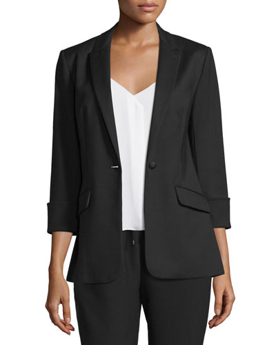 Alex Stretch Crepe Blazer, Black