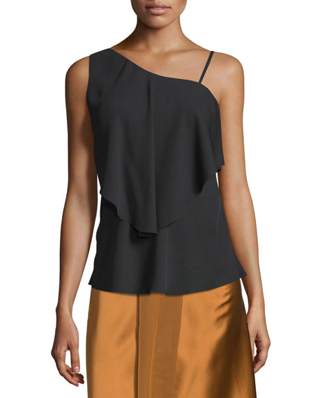Elizabeth and James Ruby Draped Popover Top, Black