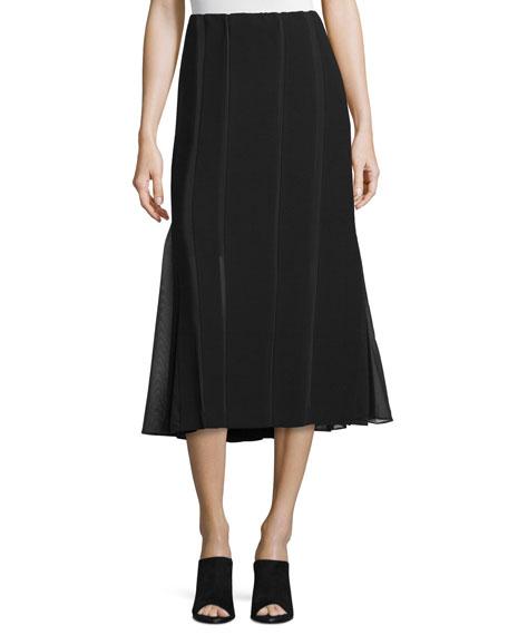 Donna Karan Pieced A-Line Midi Skirt, Black