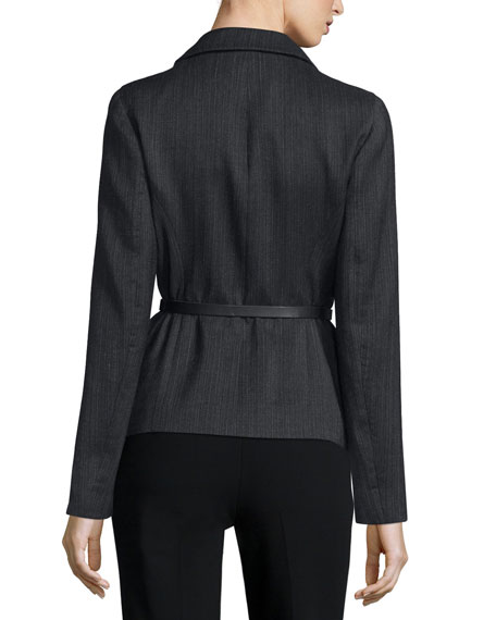 Long-Sleeve Belted Jacket, Charcoal