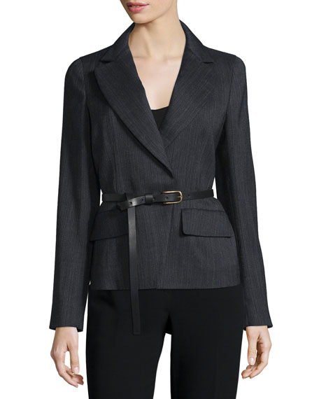 Donna Karan Long-Sleeve Belted Jacket, Charcoal
