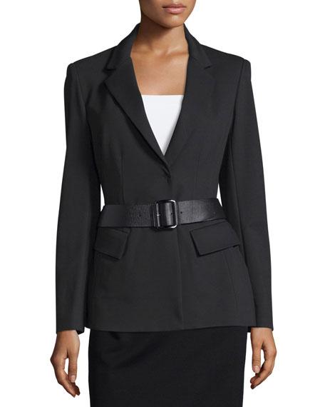 Donna Karan Belted Peplum Jacket, Black
