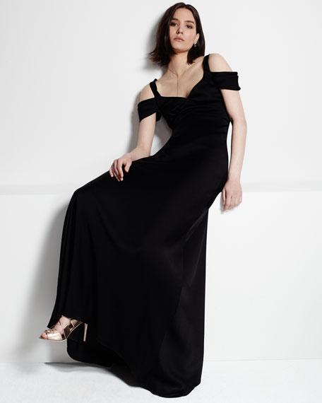 Cold-Shoulder Open-Back Gown