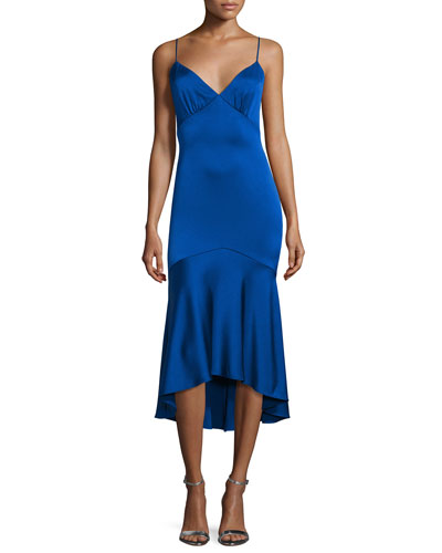 Sleeveless V-Neck High-Low Cocktail Dress