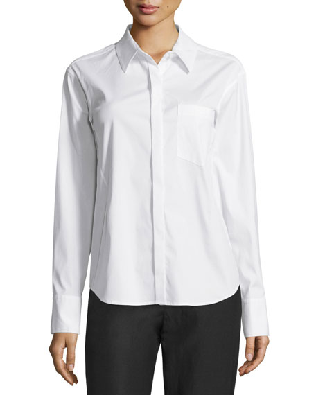 Donna Karan Button-Front Tailored Shirt, White