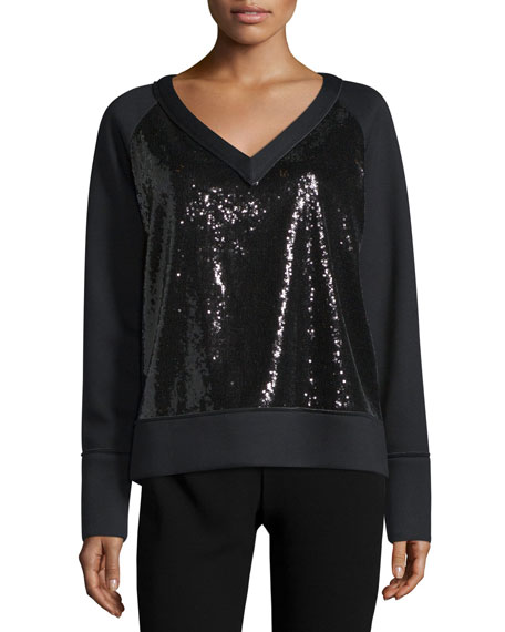 Long-Sleeve Embellished-Front Sweatshirt, Black