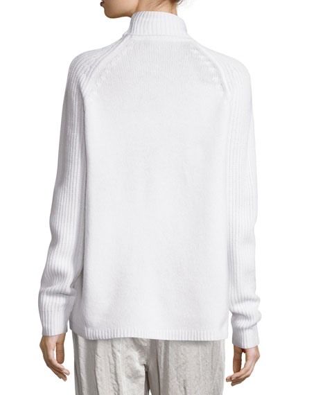 Long-Sleeve Turtleneck Ribbed Sweater, Ivory
