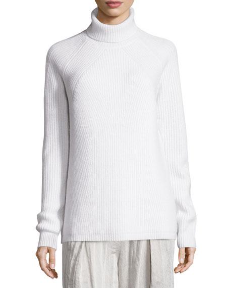 Donna Karan Long-Sleeve Turtleneck Ribbed Sweater, Ivory