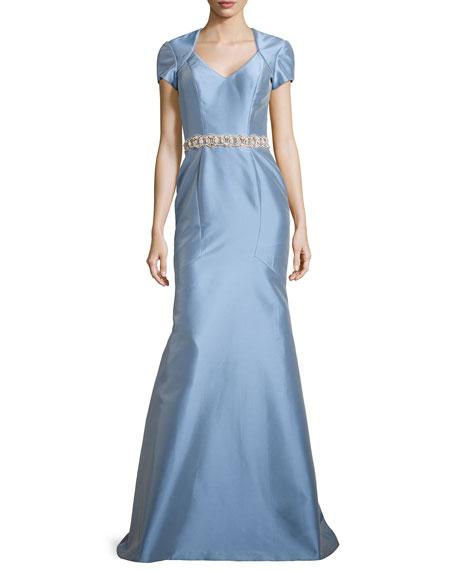 TheiaSatin Gown w/ Beaded Waist, Powder
