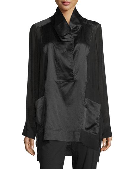 Donna Karan Funnel-Neck Combo Pullover, Black