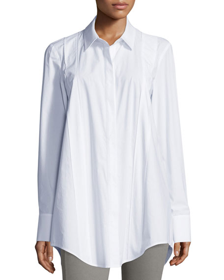 Donna Karan Long-Sleeve Tailored Shirt, White