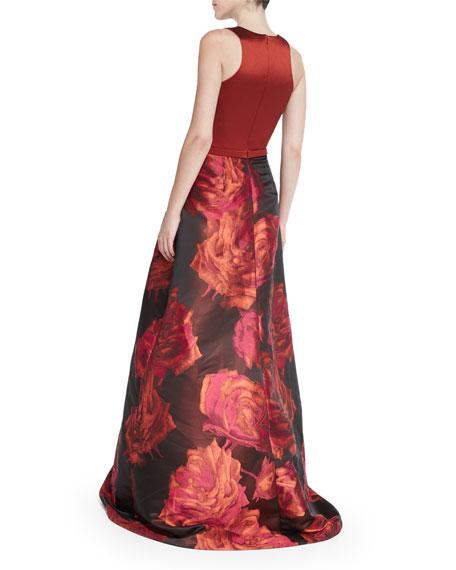 Sleeveless Combo Floral-Skirt Ball Gown