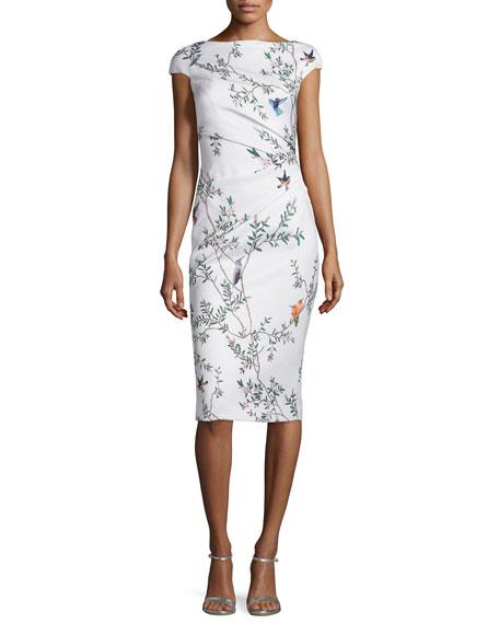 Monique Lhuillier Jacquard Bird-Print Draped Sheath Dress, White