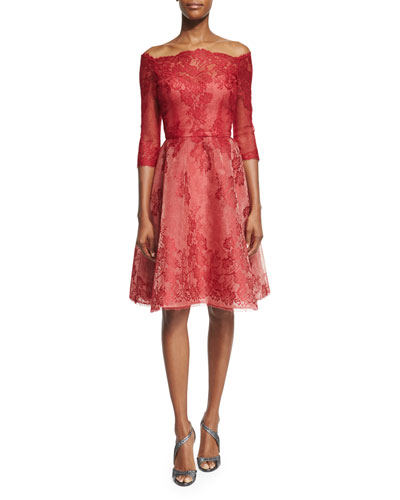 Strapless Lace-Illusion Party Dress, Red