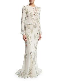 Monique Lhuillier Long-Sleeve Bird-Print Column Gown, Siok ...