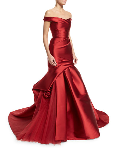 Off-The-Shoulder Draped Trumpet Gown, Deep Red