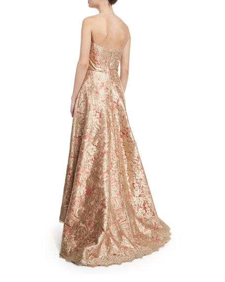 Strapless Brocade High-Low Ball Gown