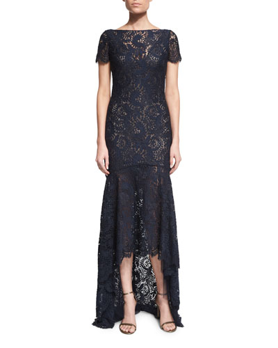 Short-Sleeve Lace High-Low Gown
