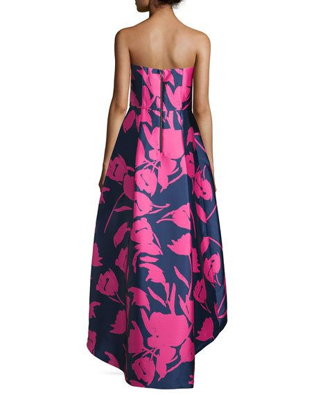 Strapless Floral-Print High-Low Gown, Navy/Pink