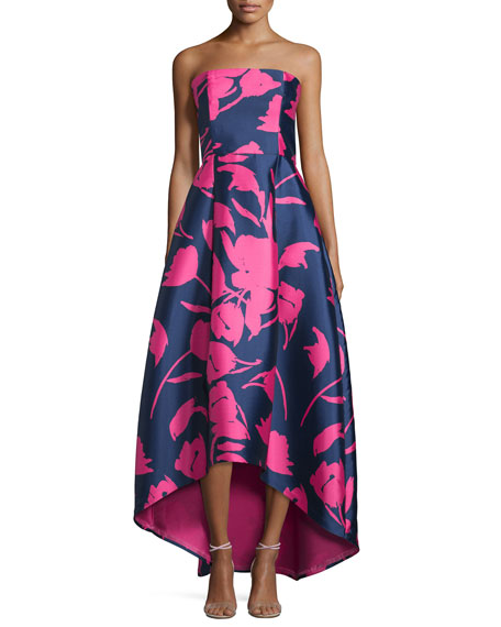 Sachin & Babi Noir Strapless Floral-Print High-Low Gown, Navy/Pink