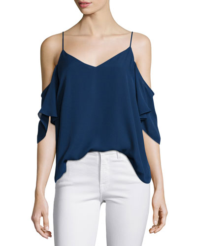 Silk Button-Back Cold-Shoulder Blouse, Midnight