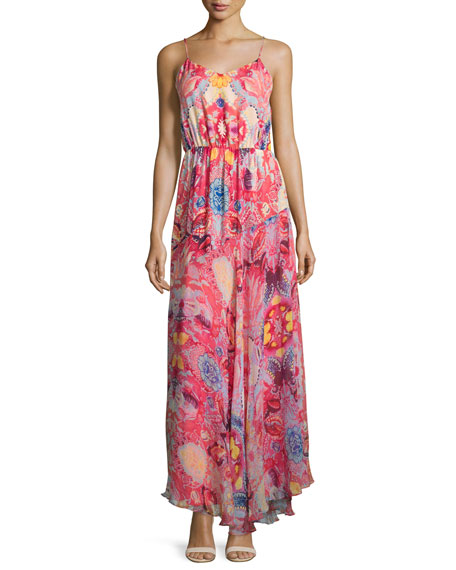 The Love Her Madly Silk Paisley Maxi Dress, Pink
