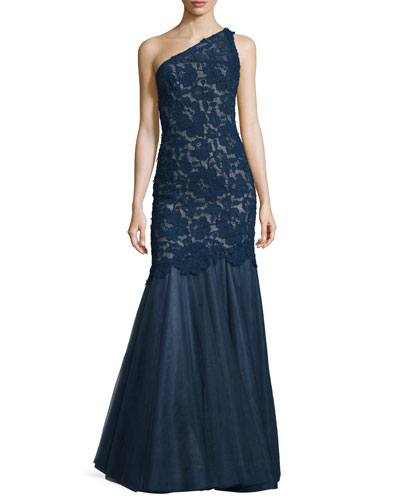 One-Shoulder Lace & Tulle Gown