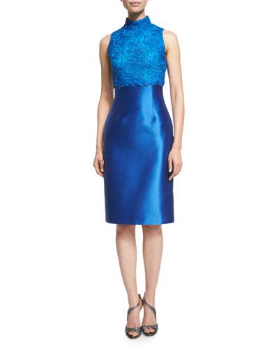 Sleeveless Mock-Neck Lace-Bodice Cocktail Dress
