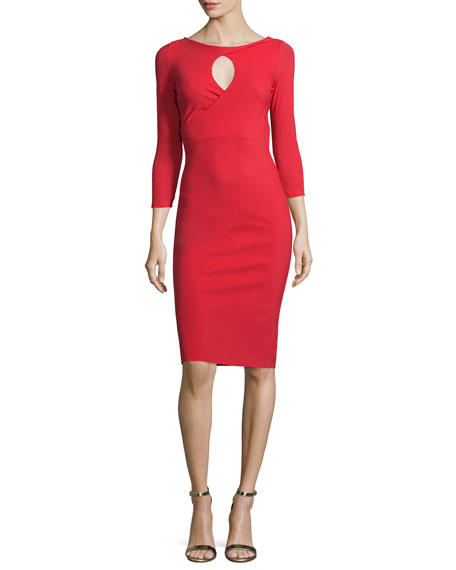 La Petite Robe di Chiara Boni Tyra 3/4-Sleeve Keyhole Cocktail Dress