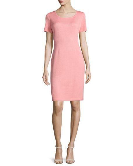 St. John Collection Short-Sleeve Knit Sheath Dress, Nectar