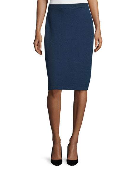 St. John Collection Mid-Rise Pencil Skirt, Ink