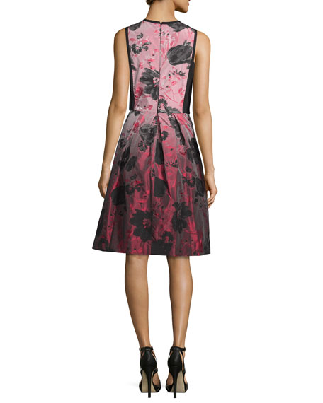 Floral-Ombre Fit-&-Flare Dress, Crimson