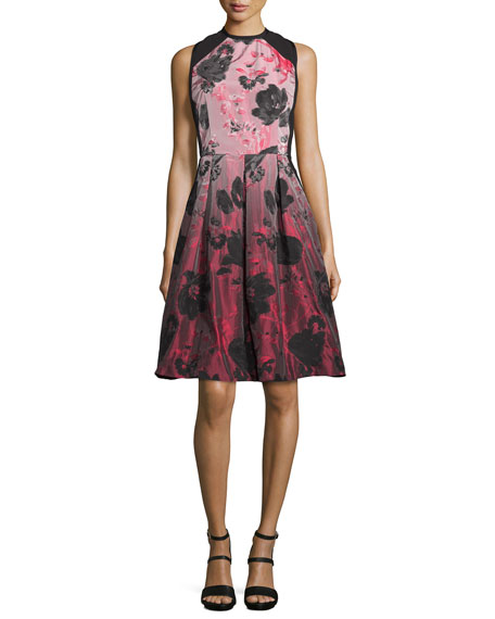 Carmen Marc Valvo Floral-Ombre Fit-&-Flare Dress, Crimson