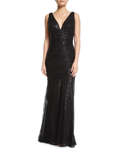 Sleeveless Embellished Ruched Gown, Black