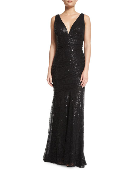 Carmen Marc Valvo Sleeveless Embellished Ruched Gown, Black