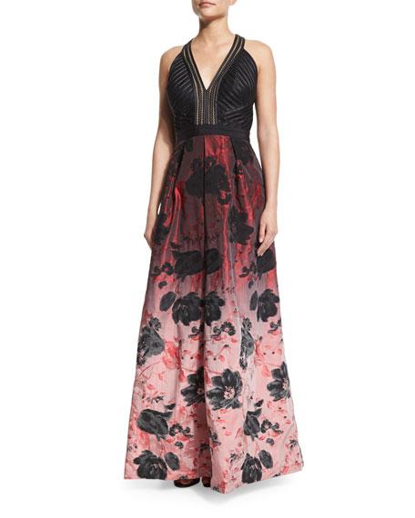 Carmen Marc ValvoSleeveless Floral Ombre Gown, Black/Crimson