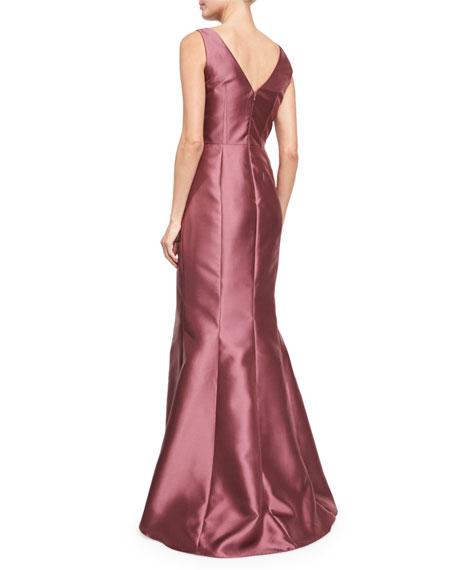 Sleeveless Asymmetric-Peplum Gown, Mulberry